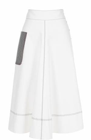 Хлопковая юбка А-силуэта с накладным карманом Aquilano Rimondi. Цвет: белый