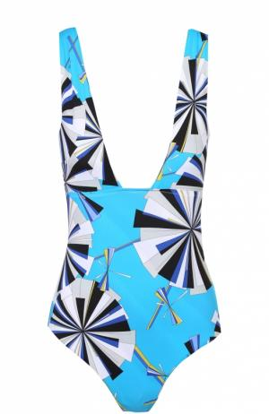 Слитный купальник с ярким принтом и открытой спиной Emilio Pucci. Цвет: голубой