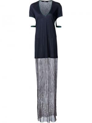 Длинное платье-футболка с сетчатой панелью Musée. Цвет: синий
