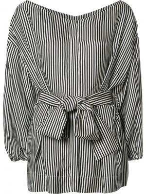 Полосатая блузка с присборенной талией Zimmermann. Цвет: чёрный