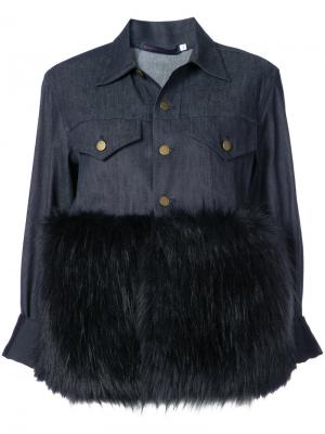 Джинсовая куртка с контрастным пушистым подолом Harvey Faircloth. Цвет: синий