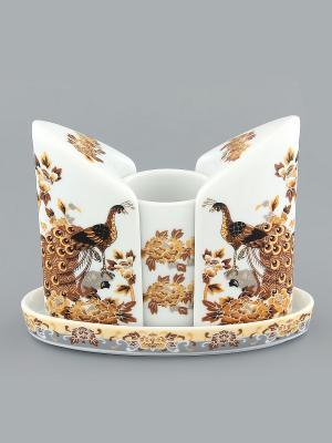 Вазочка под зубочистки и набор для специй Павлин на бежевом Elan Gallery. Цвет: белый, бежевый, коричневый