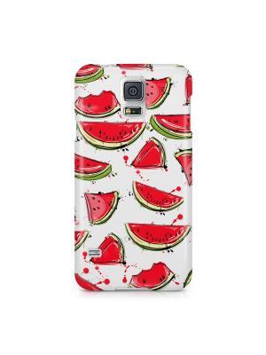 Чехол для Samsung S5 Арбузики Boom Case. Цвет: светло-зеленый, белый, красный