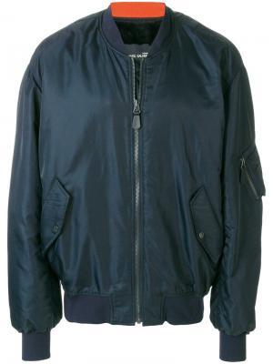 Куртка-бомбер с меховой подкладкой Yves Salomon Homme. Цвет: синий
