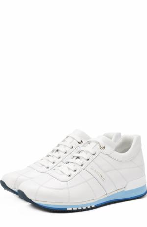 Кожаные кроссовки с прострочкой A. Testoni. Цвет: белый