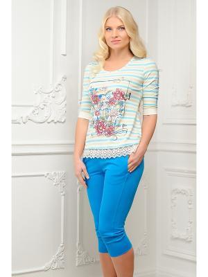 Домашний костюм Mia Cara. Цвет: голубой, белый
