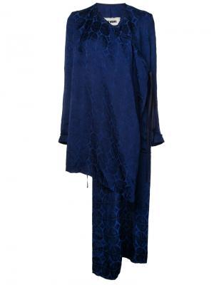Открытое асимметричное пальто Uma Wang. Цвет: синий