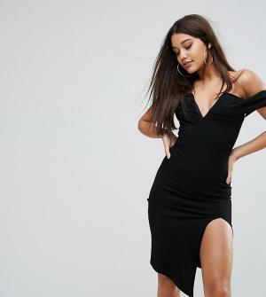 Ginger Fizz Платье миди с открытыми плечами, глубоким вырезом и разрезом Fi. Цвет: черный