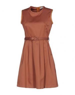 Короткое платье OTTOD'AME. Цвет: светло-коричневый