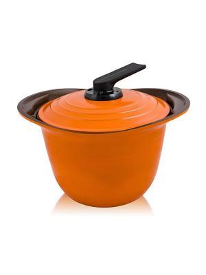 Кастрюля с крышкой Roichen 26 см (8 L) MOULINvilla. Цвет: оранжевый