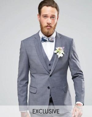 Number Eight Savile Row Стретчевый пиджак зауженного кроя на свадьбу. Цвет: серый