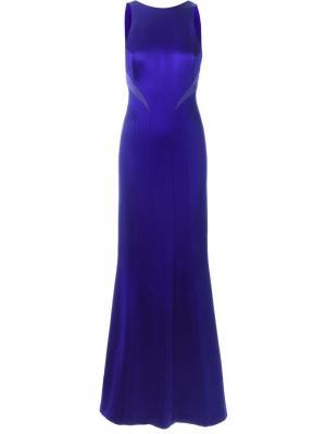 Приталенное вечернее платье с вырезом на спине Galvan. Цвет: синий