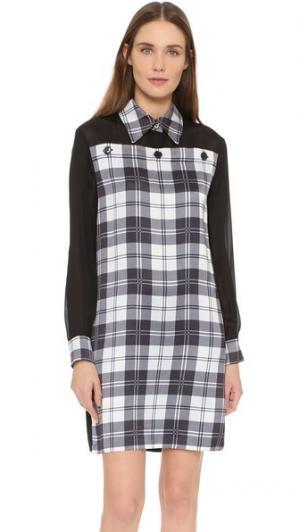 Платье-рубашка с принтом в клетку EDUN. Цвет: черный/белый