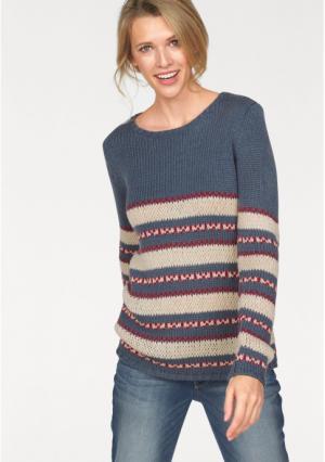 Пуловер CHEER. Цвет: темно-синий/цвет белой шерсти/красный