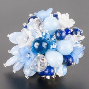 Брошь Флоренсия самоцветы, пластик, арт. бшС-2964 Бусики-Колечки. Цвет: голубой