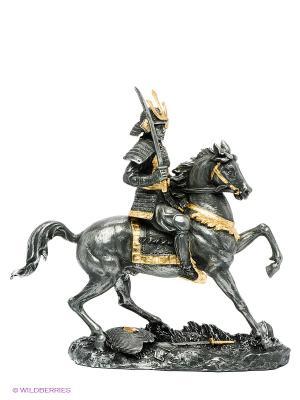 Статуэтка Самурай на коне Veronese. Цвет: темно-серый, золотистый