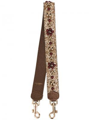 Декорированная лямка для сумки Dolce & Gabbana. Цвет: металлический