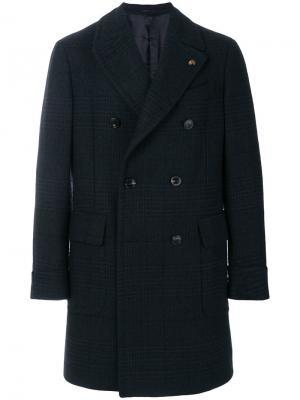 Двубортное пальто в клетку Gabriele Pasini. Цвет: синий