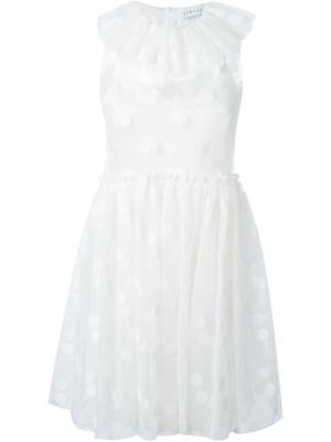 Платье в горох с оборками на воротнике Gianluca Capannolo. Цвет: белый