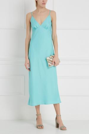 Однотонное платье LAROOM. Цвет: бирюзовый