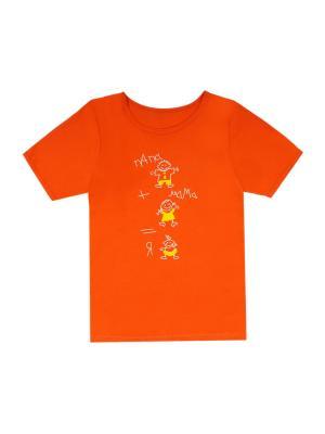 Футболка с принтом Семья кулирка взрослые Агат. Цвет: оранжевый