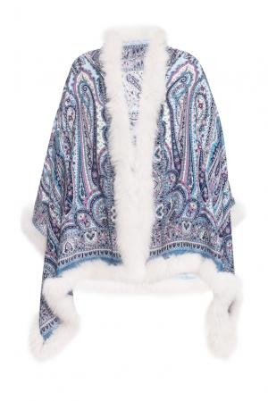 Палантин из шерсти с отделкой меха песца 123207 Kaminsky. Цвет: разноцветный