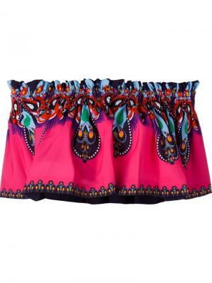 Укороченный топ с принтом Manish Arora. Цвет: розовый и фиолетовый