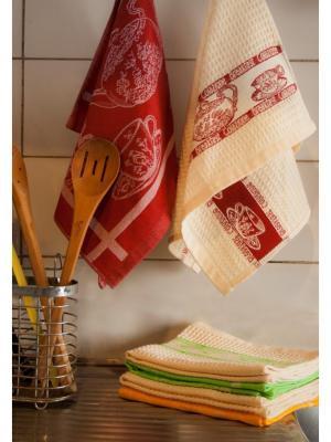 Набор кухонных полотенец ЗАВТРАК  40х60 (желтый,бордо,зелёный) TOALLA. Цвет: желтый