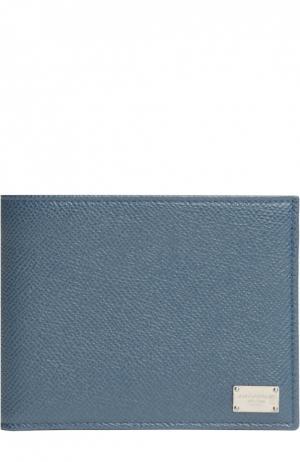 Кожаное портмоне с отделениями для кредитных карт и монет Dolce & Gabbana. Цвет: серо-голубой