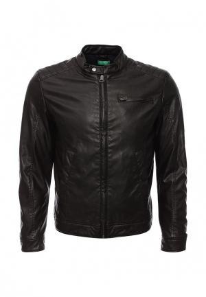 Куртка кожаная United Colors of Benetton. Цвет: коричневый