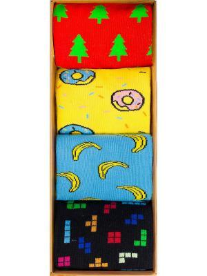 Набор Будь в тренде (4 пары коробке), дизайнерские носки SOXshop. Цвет: синий,зеленый,красный