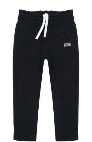 Спортивные брюки из хлопка с прострочкой и оборкой на поясе No. 21. Цвет: темно-синий