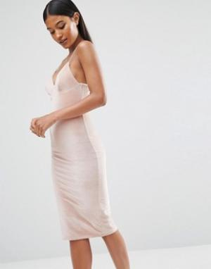 Club L Бархатное платье миди на бретельках. Цвет: розовый