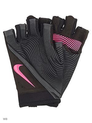 Женские перчатки для фитнеса Nike. Цвет: черный, серый, розовый
