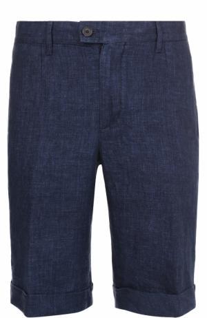 Льняные шорты с карманами Cortigiani. Цвет: темно-синий