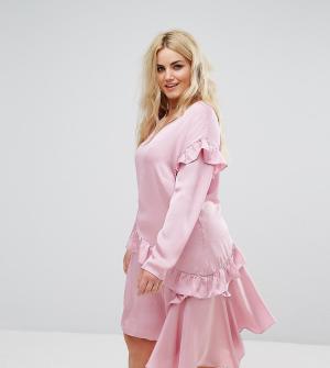 Alice & You Свободное платье с длинными рукавами и оборками. Цвет: розовый