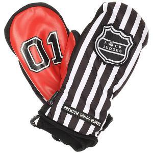 Варежки сноубордические  F*uck Judges Black Bonus Gloves. Цвет: красный,белый,черный