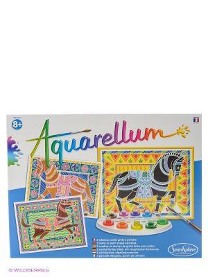 Акварельная раскраска Цирковые лошади SENTOSPHERE. Цвет: голубой