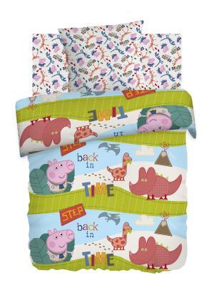 Комплект постельного белья 1,5 хлопок Диноэра Свинка Пеппа. Цвет: белый, голубой, розовый