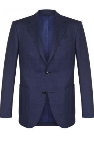 Однобортный пиджак из смеси шерсти и шелка Ermenegildo Zegna. Цвет: темно-синий