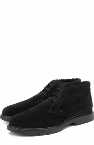 Замшевые ботинки на шнуровке с внутренней меховой отделкой Hogan. Цвет: черный