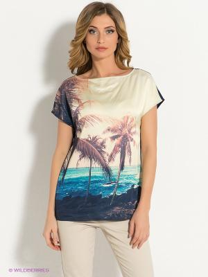 Блузка Pompa. Цвет: синий, морская волна, молочный