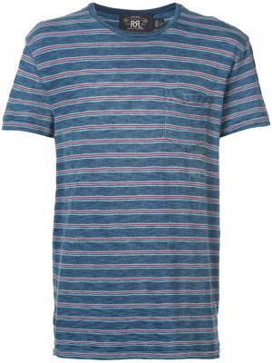 Полосатая футболка Rrl. Цвет: синий
