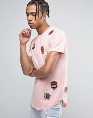 Criminal Damage Розовая футболка с принтом нашивок. Цвет: розовый