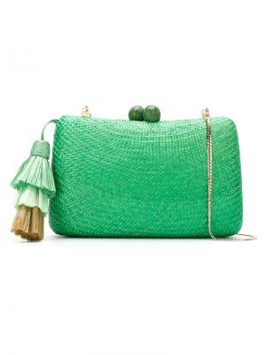 Straw clutch Serpui. Цвет: зелёный