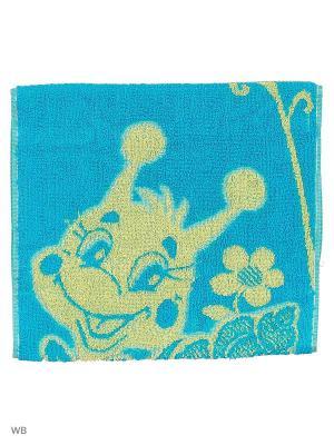 Полотенце махровое пестротканое жаккардовое Улитка с коровкой Авангард. Цвет: голубой, оранжевый, желтый