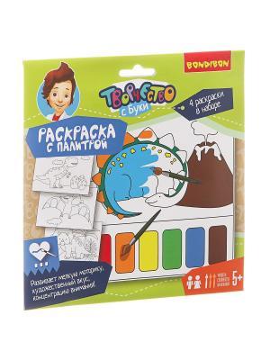 Набор для творчества  BONDIBON. Раскраска с палитрой ( динозавры ) BONDIBON. Цвет: салатовый