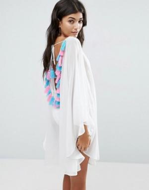 America & Beyond Пляжное платье с вышивкой на спине. Цвет: белый