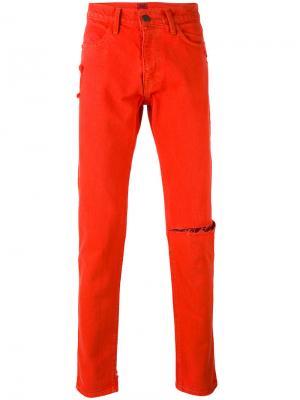 Джинсы кроя слим с рваной отделкой 424 Fairfax. Цвет: жёлтый и оранжевый