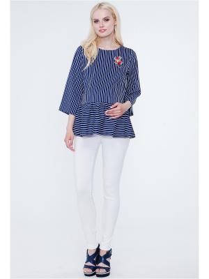 Блузка TUTTA MAMA. Цвет: темно-синий, белый